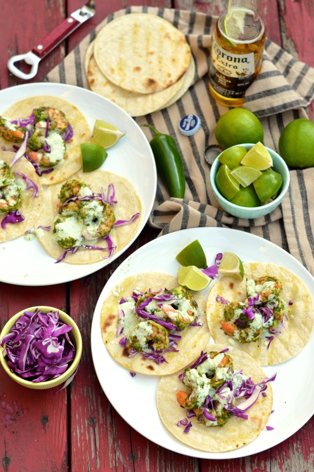 grilled shrimp tacos with cilantro pesto and jalapeno crema | Brooklyn Homemaker