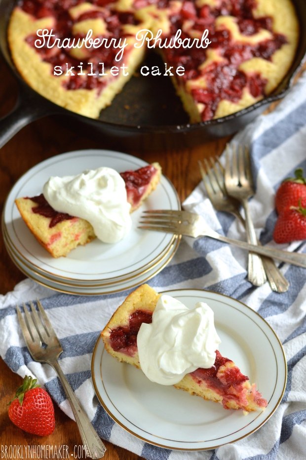 strawberry rhubarb skillet cake | Brooklyn Homemaker