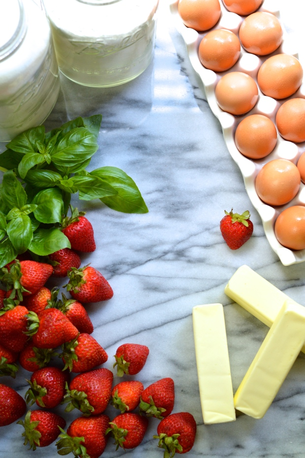 strawberry stuffed yellow layer cake with basil buttercream | Brooklyn Homemaker