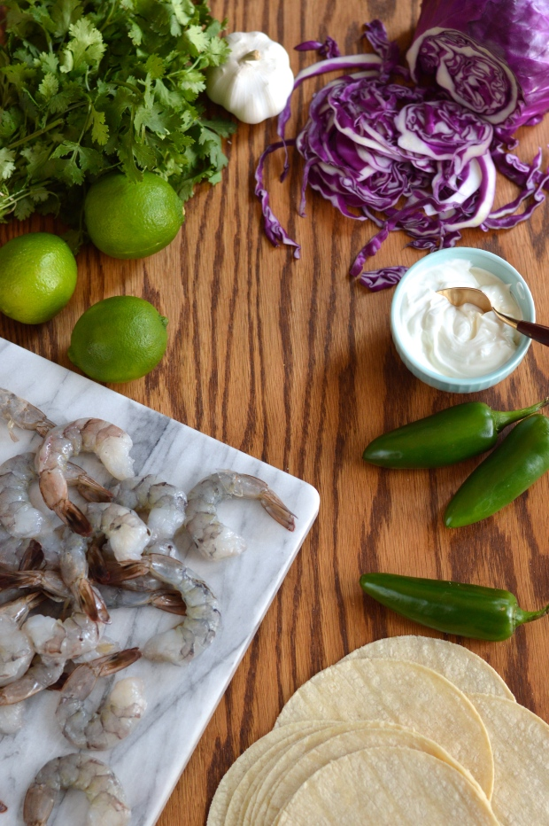 grilled shrimp tacos with cilantro pesto and jalapeno crema | Brooklyn Homemaker