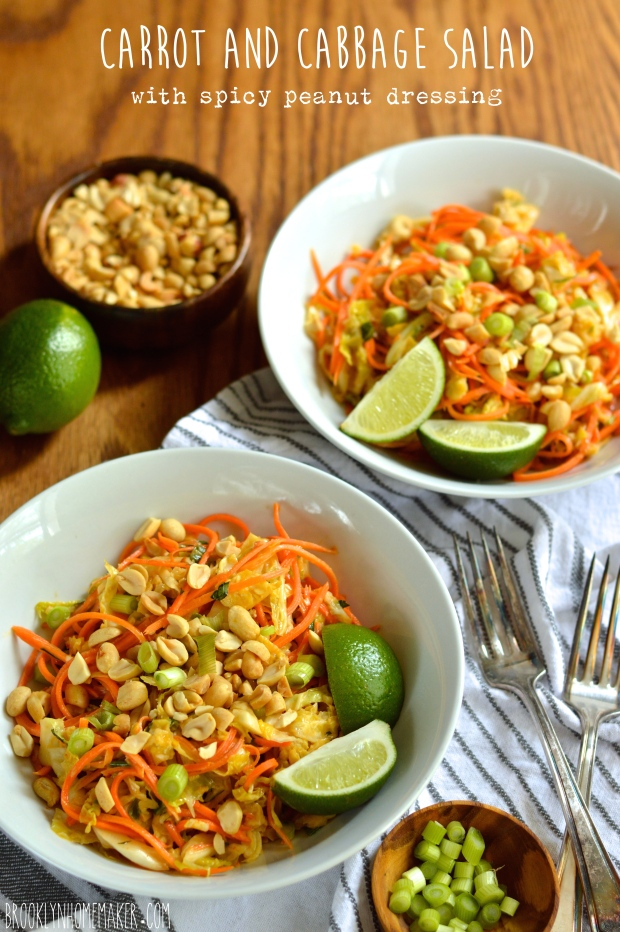 carrot and cabbage salad with spicy peanut dressing | Brooklyn Homemaker