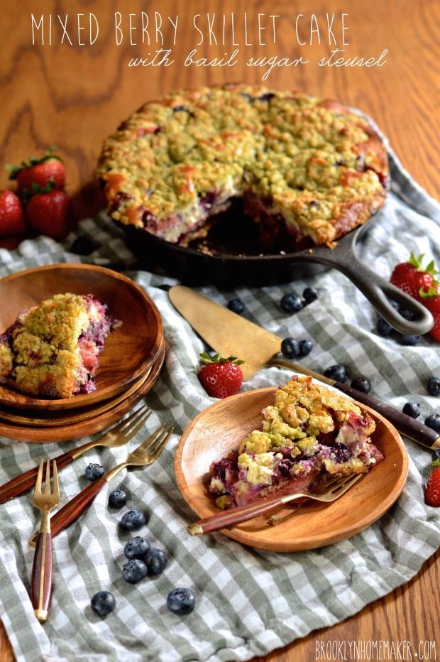 mixed berry skillet cake with basil sugar streusel | Brooklyn Homemaker