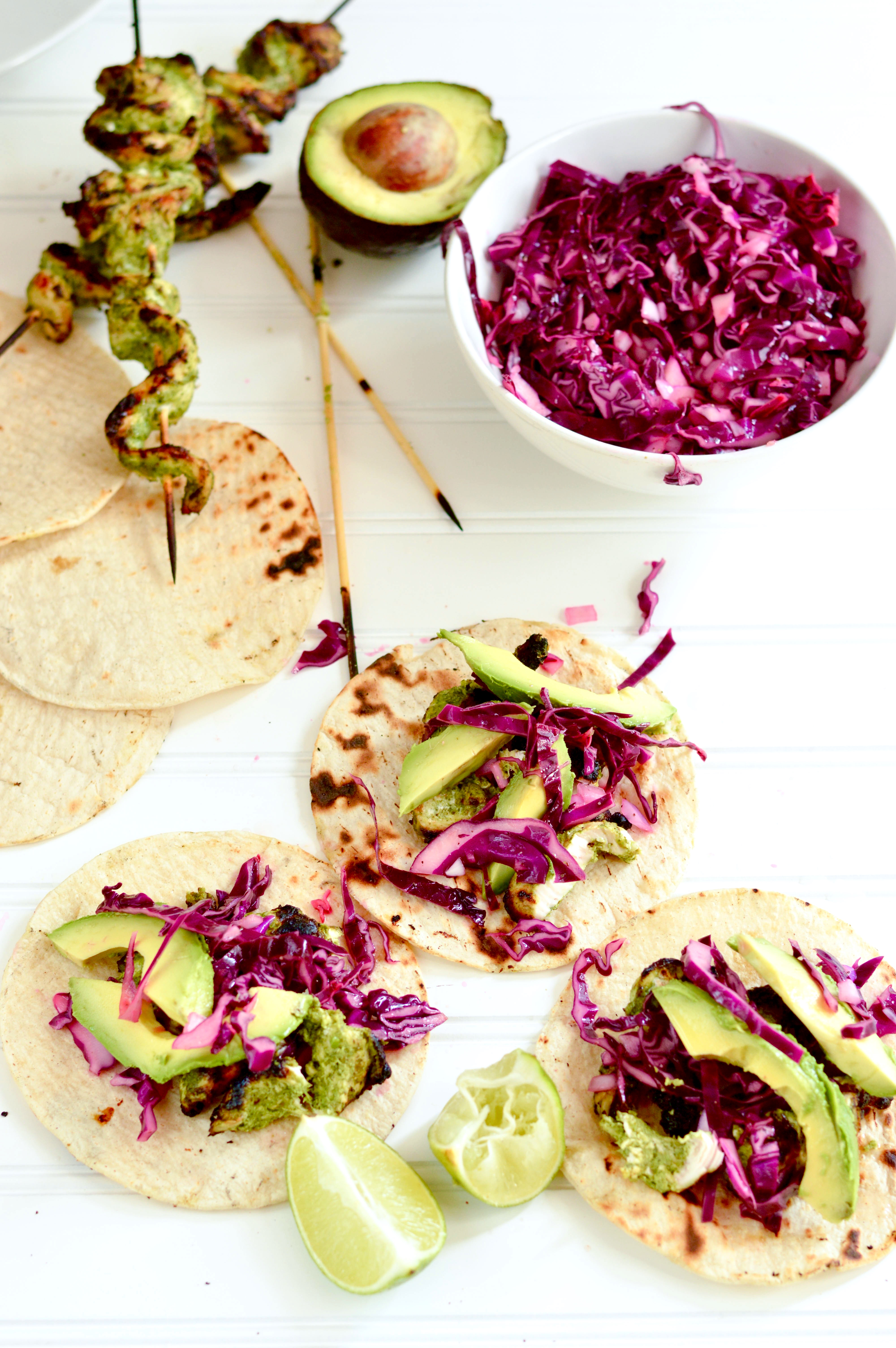 Grilled Chicken Tacos With Cilantro Pesto And Red Cabbage