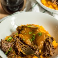 classic pot roast with sweet potato parsnip mash
