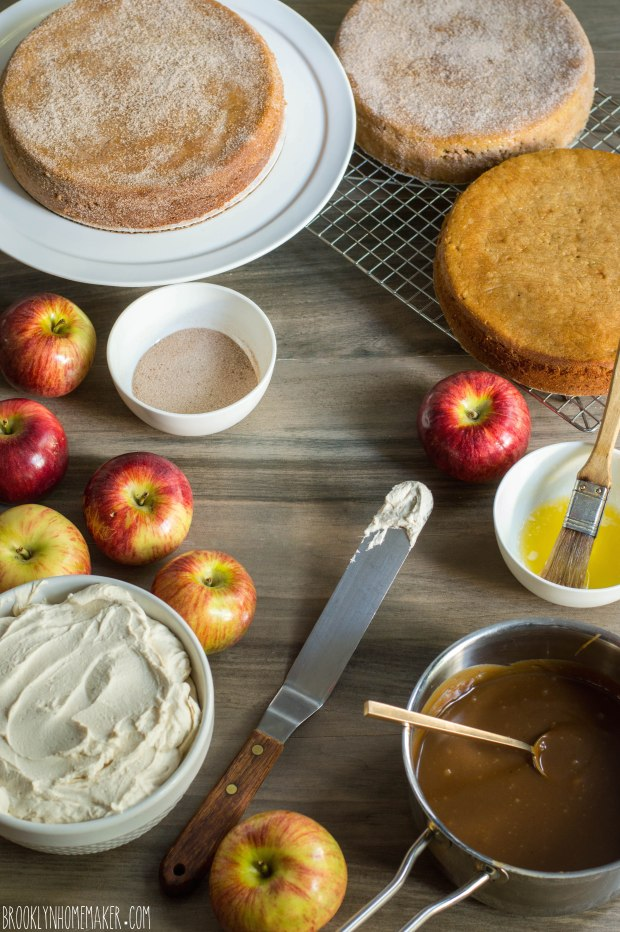 apple cider doughnut cake with mascarpone icing and cider caramel sauce | Brooklyn Homemaker