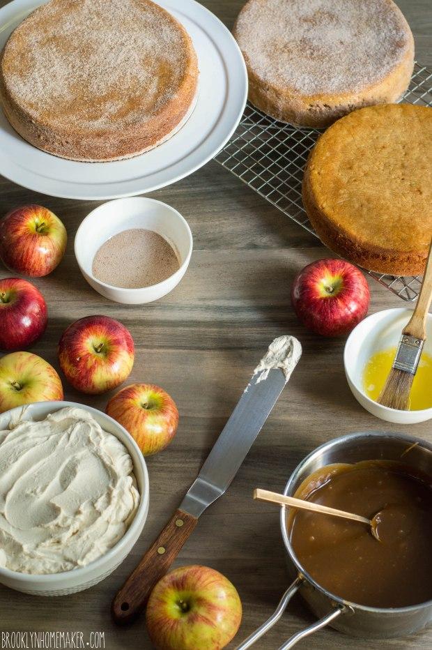 apple cider doughnut cake with mascarpone icing and cider caramel sauce | Brooklyn Homemaker