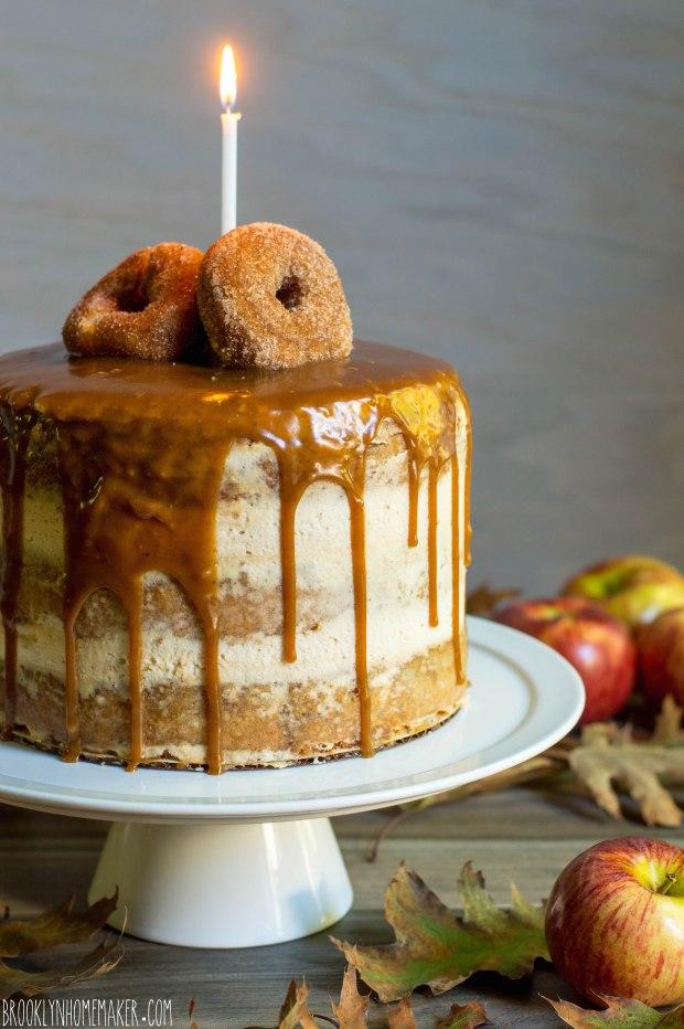 apple cider doughnut cake with mascarpone icing & cider caramel sauce | Brooklyn Homemaker