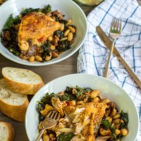 braised chicken with kale and white beans