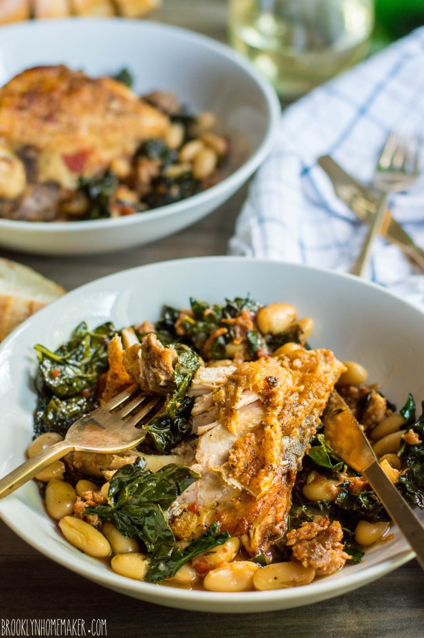 braised chicken with kale and white beans | Brooklyn Homemaker