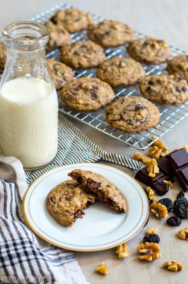 dark chocolate chip cookies with dried cherries and walnuts