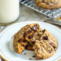 dark chocolate chunk cookies with dried cherries and walnuts
