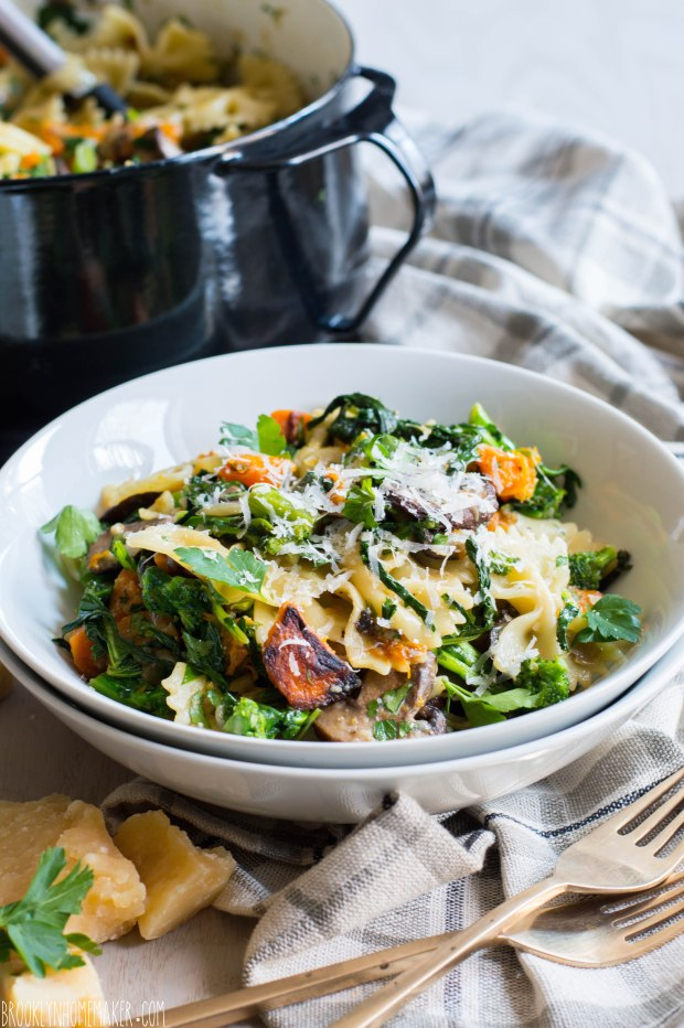 farfalle with broccoli rabe, roasted mushrooms & butternut squash | Brooklyn Homemaker