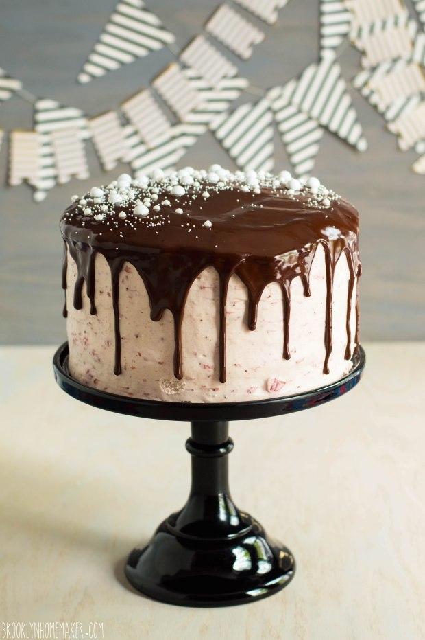 chocolate tuxedo cake with strawberry mascarpone icing | Brooklyn Homemaker