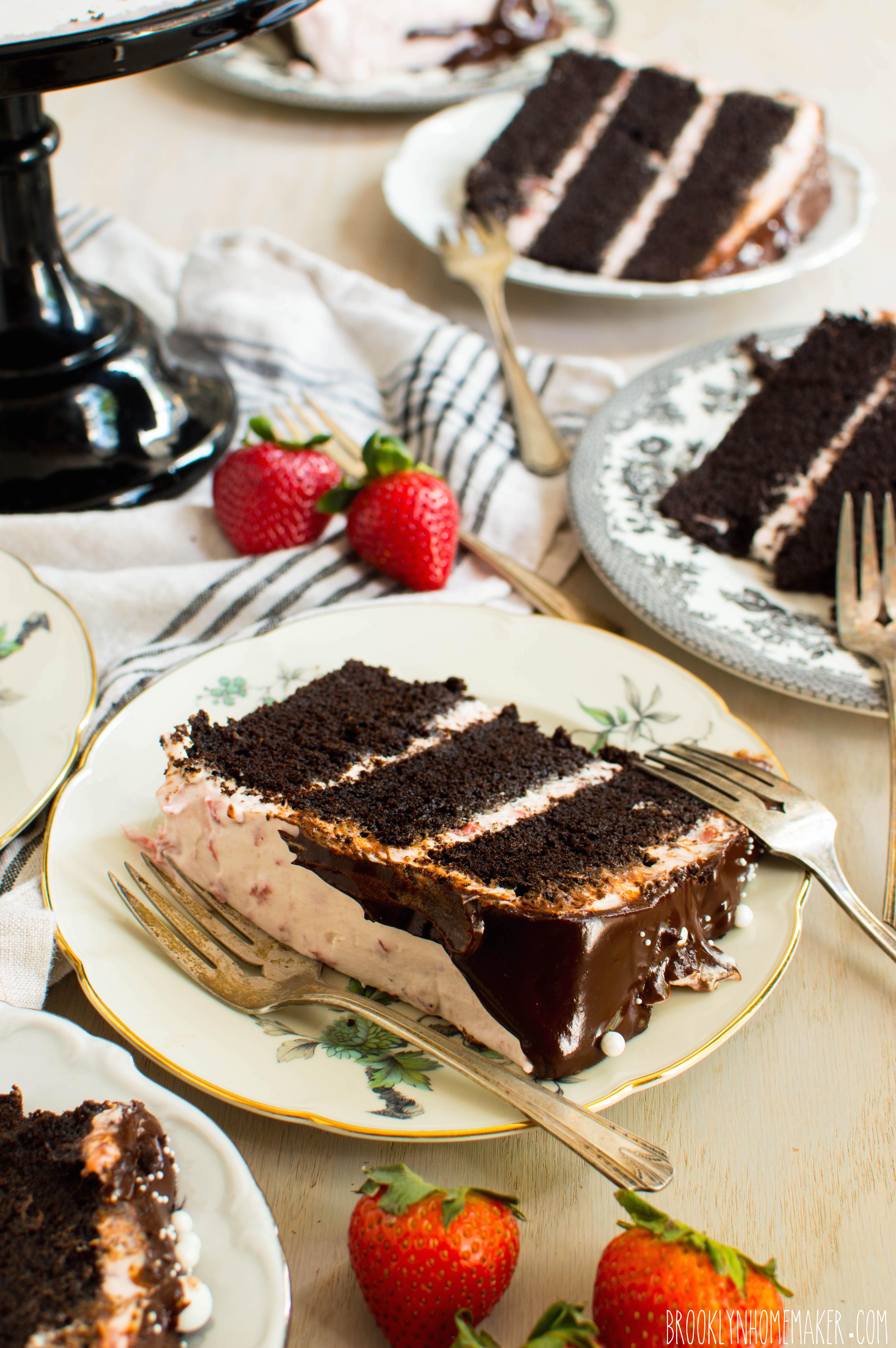 Chocolate Tuxedo Cake With Strawberry Mascarpone Icing