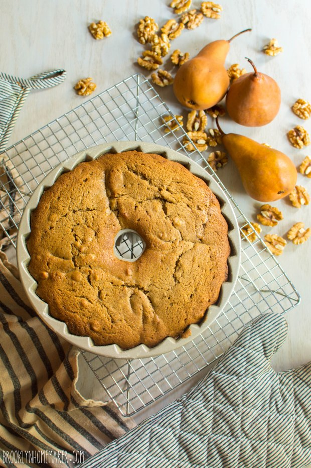 roasted pear and walnut spice cake bundt | Brooklyn Homemaker
