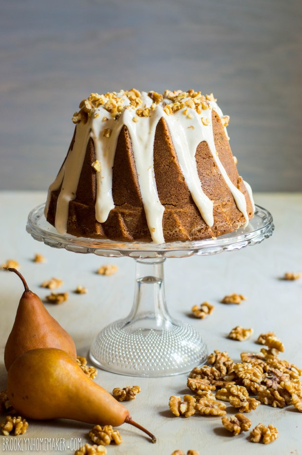 roasted pear and walnut spice cake bundt | Brooklyn Homemaker