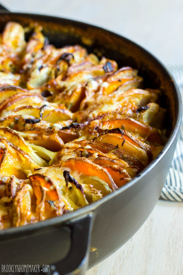 red, white, & sweet potato gratin with fennel & sage | Brooklyn Homemaker