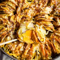 red, white, & sweet potato gratin with fennel & sage