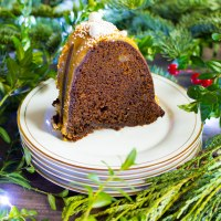 spicy gingerbread bundt cake with caramelized white chocolate ganache #bundtbakers
