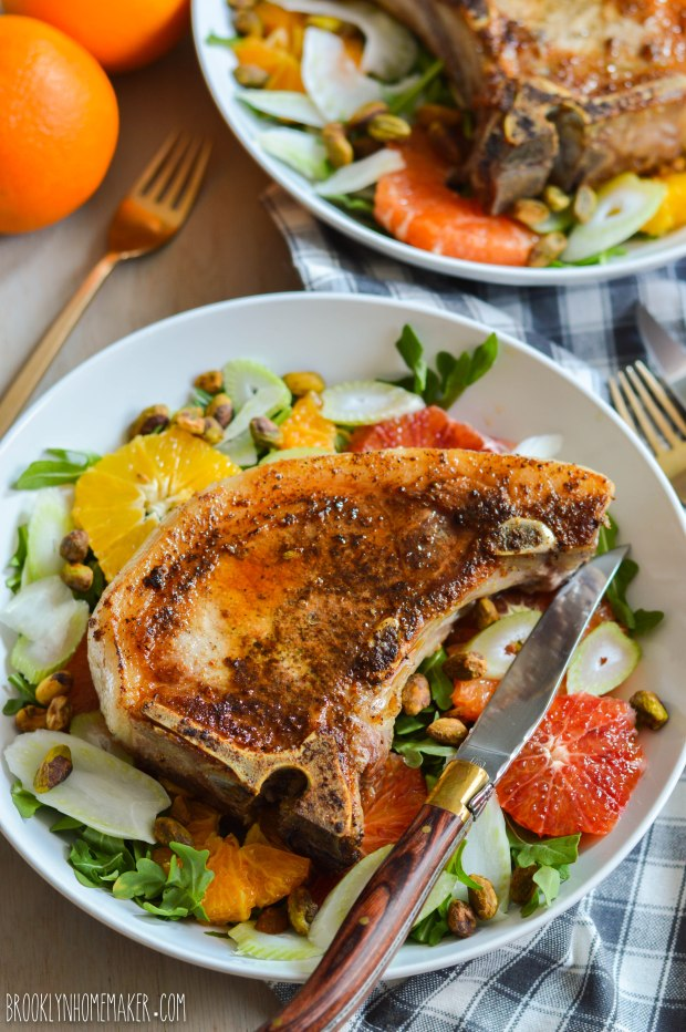 winter citrus salad with seared pork chops | Brooklyn Homemaker