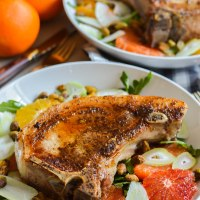 winter citrus salad with spiced pork chops