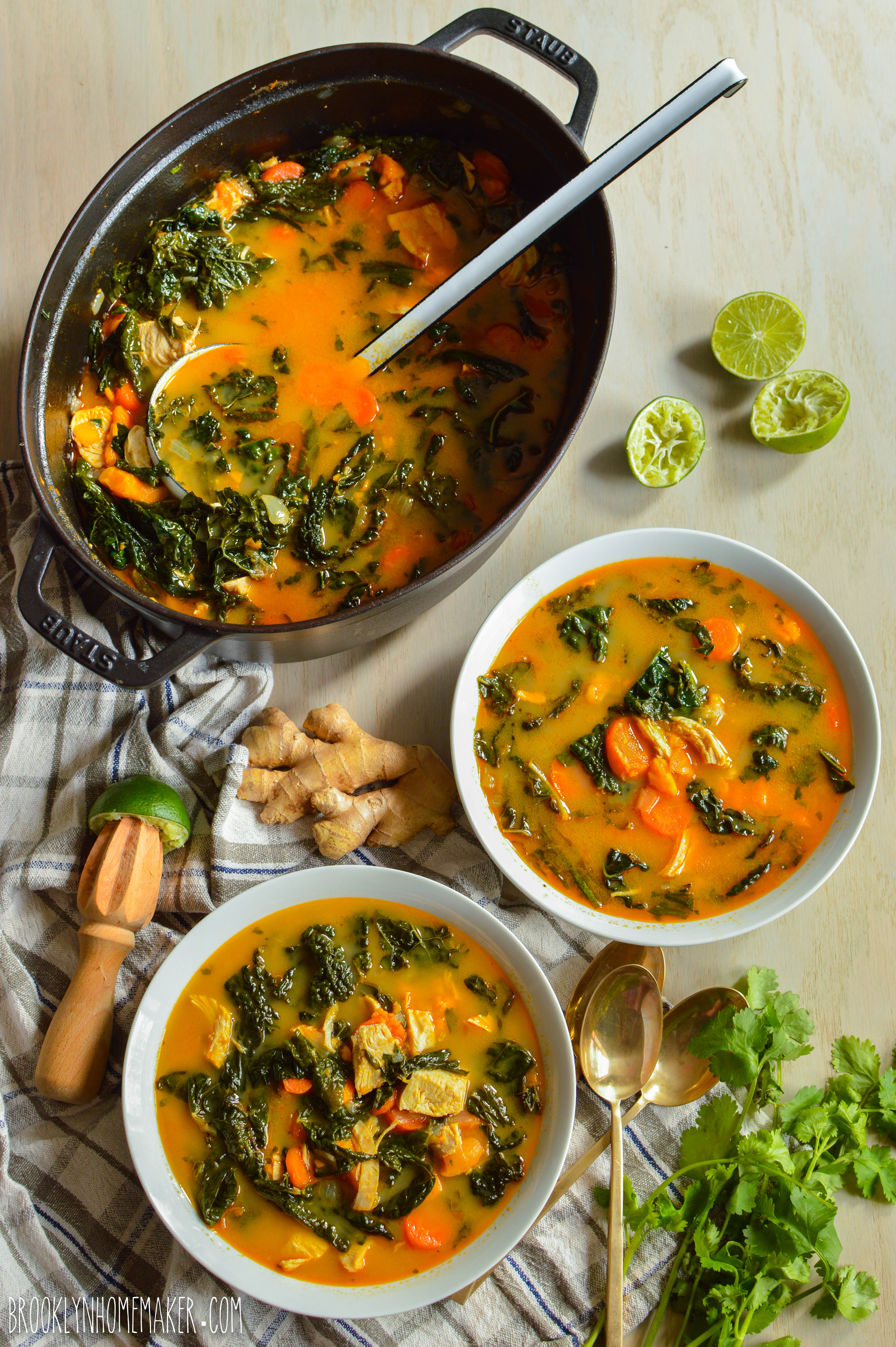 Thai Coconut Curry Soup With Chicken And Kale Brooklyn Homemaker