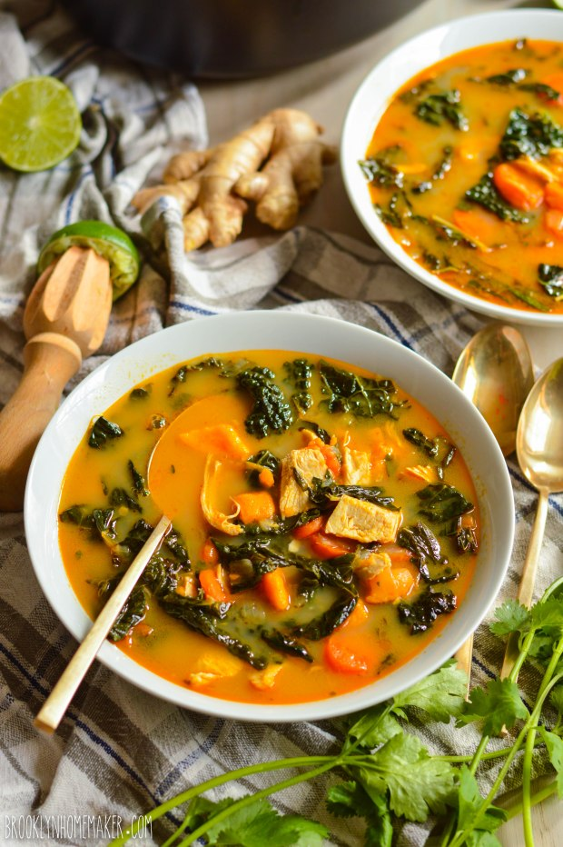 thai coconut curry soup with chicken and kale | Brooklyn Homemaker