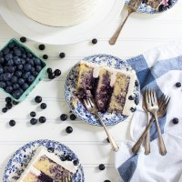 triple blueberry layer cake